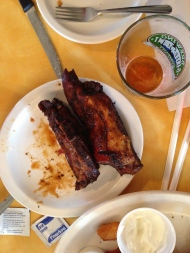 The remains of the rib appetizer (headed home!)